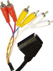 BW1115 (SN1054), Шнур SCART - 6RCA, видео-стерео-аудио, вход-выход, 2м