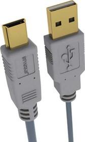 SG1194, Шнур USB2.0 A вилка - Mini USB 5P вилка, GOLD, 1.8м