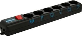 Фото 1/2 SPL(5+1)-B10 BLACK, Удлинитель сетевой с фильтром Pro, 6 розеток, 3м, черный