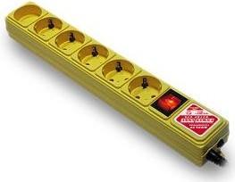 SPG(5+1)-B-ж10/20, Удлинитель сетевой с фильтром, 6 розеток, 3м, желтый