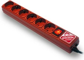 SPG(5+1)-B-к10/20, Удлинитель сетевой с фильтром, 6 розеток, 3м, красный