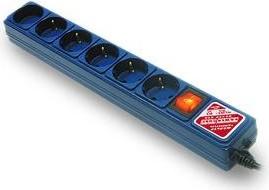 SPG(5+1)-B-с10/20, Удлинитель сетевой с фильтром, 6 розеток, 3м, синий