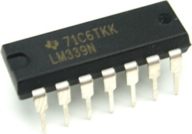 Фото 1/4 LM339N, Счетверенный компаратор, (=К1401СА1), [DIP-14]