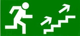"""Знак """"Направление к эвакуационному выходу по лестнице вверх"""" флуоресцентный 150х300,"""