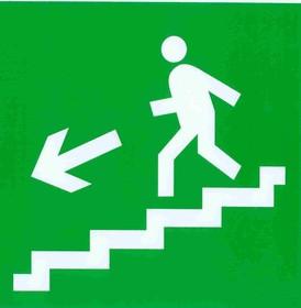 """Знак """"Направление к эвакуационному выходу по лестнице вниз"""" флуоресцентный 200х200,"""