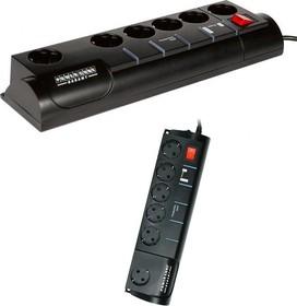 SISN-2-BLACK-10, Удлинитель сетевой с фильтром Garant, 6 розеток, телефонная защита, 3м, черный