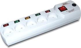 Most ER, 2м, белый, Удлинитель сетевой с фильтром, 5 розеток без заземления, отдельные выключатели, 2м, белый