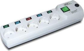 Most ERG, 2м, белый, Удлинитель сетевой с фильтром, 5 розеток, отдельные выключатели