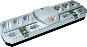 Most TRG, 2м, металлик, Удлинитель сетевой с фильтром, 2 независимых блока розеток