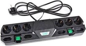 Most TRG, 2м, черный, Удлинитель сетевой с фильтром, 2 независимых блока розеток