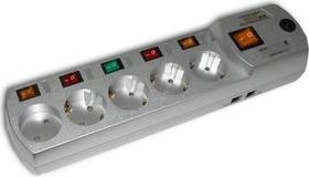 Most EH-M, 2м, металлик, Удлинитель сетевой с фильтром, 5 розеток, отдельные выключатели, телефонная защита