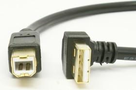 Кабель USB A вилка угловая - USB B вилка (0.3м) GOLD