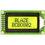 BCB0802-02-Y/G, ЖКИ 8х2 символьный англо-русский с подсветкой