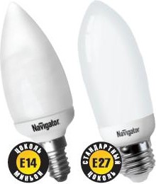 "NCL-C35-09-827-E27 (94085), Лампа энергосберегающая ""свеча"" 9Вт,2700K,E27"