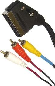 BL1052 (SN1052), Шнур SCART - 3RCA, видео-стерео-аудио, вход-выход, 1.8м