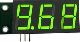 SVH0001G-10, Цифровой встраиваемый вольтметр 0..9.99В,зеленый индикатор