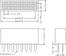 PBD-1,27-40S, Гнездо 1.27мм (2х20) прямое