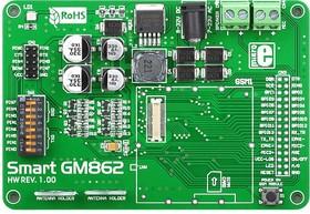 MIKROE-492, SmartGM862 Board, Отладочная плата для модуля GM862 GSM/GPRS