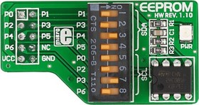 Фото 1/4 MIKROE-88, EEPROM Board, Периферийный модуль с м/с памяти EEPROM 24C08WP