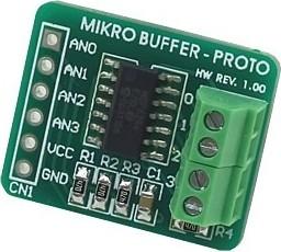 MIKROE-324, mikroBuffer PROTO Board, Дочерняя плата для макетирования устройств на базе ОУ MCP6284
