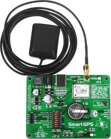 MIKROE-1381, SmartGPS Board, Отладочная плата для отладки приложений на базе модуля LEA-5S GPS/GALILEO фирмы u-blox