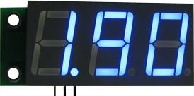 SVH0001UB-10, Цифровой встраиваемый вольтметр 0..9,99В, ультра яркий голубой индикатор