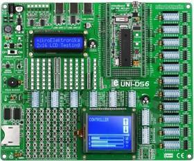 Фото 1/6 MIKROE-701, UNI DS6 Development System, Полнофункциональная универсальная отладочная плата для изучения МК 7 различных архитектур
