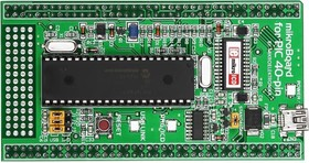 MIKROE-1029, mikroBoard for PIC 40-pin with PIC18F4520, Дочерний модуль с МК PIC18F4520