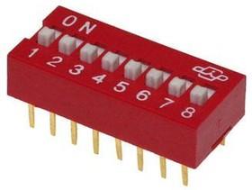 DS-08 (SWD1-8), Переключатель DIP-8 пол., красный