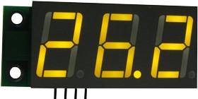SAH0012UY-50, Цифровой встраиваемый амперметр (до 50А) постоянного тока (ультра яркий желтый индикатор)