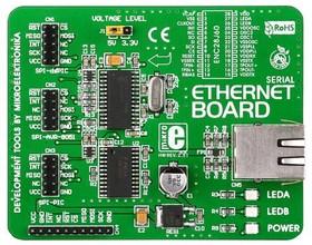 MIKROE-124, Serial Ethernet Board, Дочерняя плата с Ethernet интерфейсом