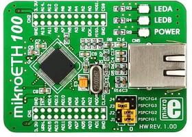 Фото 1/2 MIKROE-605, mikroETH100 Board, Периферийный модуль с Ethernet контроллером ENC624J600