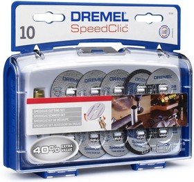 Фото 1/2 DREMEL SC690, Набор отрезных кругов SpeedClic (10 шт+держатель)