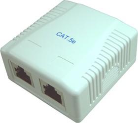 HYC-B061121 (NC-MB2EDUWH), Розетка компьютерная RJ-45 х 2 на стену CAT.5e