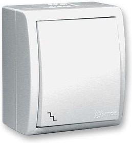 Simon15 Aqua Выключатель проходной (переключатель) IP54 10А 250В винтовой зажим S15A белый