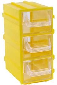 Фото 1/4 К4 жёлтая, кассетница 3 ячейки прозр. лоток 49х82х100мм