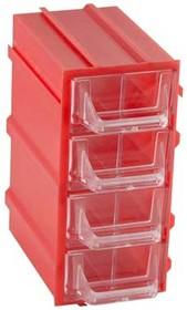 К5-В1 красная, кассетница 4 ячейки 8 секций 49х82х100мм