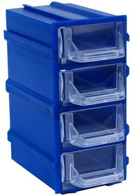 К5 синий, кассетница 4 ячейки прозр. лоток 49х82х100мм