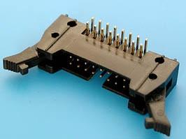 SCM-16R, Разъем 2х8 вилка на плату, с защелками, прямой угол