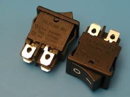 SWR-45, Выключатель 220В 4 контакта 18х13мм, B100R, черный, крепление защелка