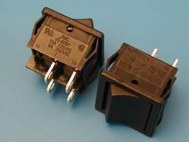 SWR-71, Выключатель 220В 4 контакта 19х22мм, B1021, черный, крепление защелка