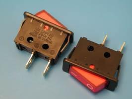 SWR-51, Выключатель 220В 2 контакта 27х11мм, красный