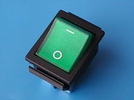 SWR-78/G, Выключатель 220В 4 контакта 29х22мм с подсветкой, зеленый, крепление защелка