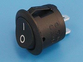 SWR-21, Выключатель 220В 2 контакта круглый, d 20мм, черный, вкл-выкл