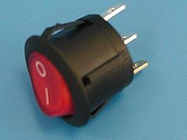 SWR-21R/L, Выключатель 3 конт. круглый, d 20мм, с подсветкой (вкл.-выкл.) (RL3-511/N-G-RE/BK-P5)