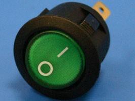 SWR-21G/L, Выключатель 220В 3 контакта круглый, d 20мм с подсветкой, зеленый, вкл-выкл