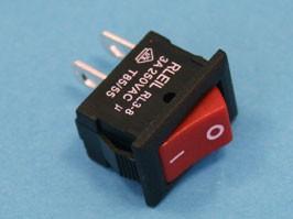 SWR-81R, Выключатель 220В 2 контакта 15х10мм, красный, вкл-выкл
