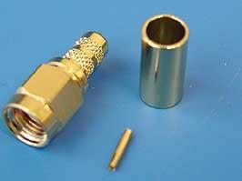 RP-SMA-C58JG (R901-9884-02RFX), Коннектор (м) на RG-58, позолоченный, обжим