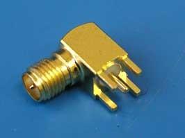 """RP-SMA-PR (2844), Коннектор """"п"""" на плату, прям. угол, позолоченный"""