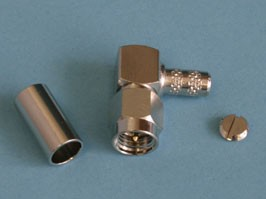 SMA 1112A6-NT50G-1-50, Разъем SMA вилка на кабель RG-58, обжимной, Г-образный, Amphenol